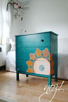 """Hacked Ikea Tarva dresser Aqua teal turquoise Home decor design furniture DIY. Dresser $79 unfinished - paint  stencil - also liked this """"tree"""" for Lauren"""