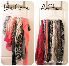 Shower hooks for DIY Scarf Organizer