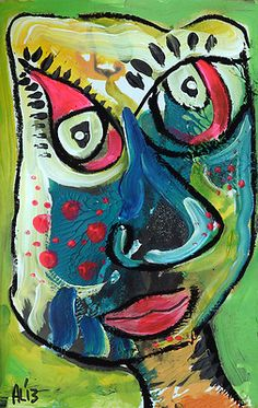 Original LABEDZKI Abstract Painting Outsider Art The Jester 5 5x8 5 Inches | eBay