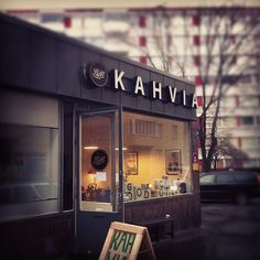 "Kahvia = Coffee    Good Life Coffee, Helsinki    ""Coffee"" is the most important communicator, therefor is big and bold, easy to read, I love it, no fuss"