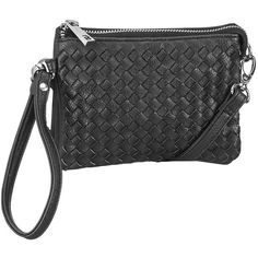 maurices Woven Crossbody Bag Or Wristlet In Black ($20) ❤ liked on Polyvore featuring bags, handbags, shoulder bags, black, black wristlet, woven shoulder bag, black crossbody purse, black cross body purse and crossbody purse