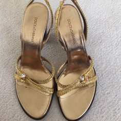 Dolce Gabbana sandals Gold with rhinestone detail. Sling back w stacked heel 4 inches Dolce & Gabbana Shoes Sandals