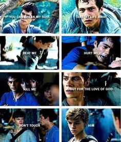 *stares blankly at screen* *bursts out in tears* <<< Maybe for once Thomas wants to protect Newt from all the terrors, he's been through so much. Oh look at that, it's raining on my face. Maze Runner Quotes, Maze Runner Funny, Maze Runner Trilogy, Maze Runner Thomas, Maze Runner The Scorch, Maze Runner Cast, Maze Runner Movie, Maze Runner Series, The Scorch Trials