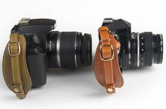 Cognac leather camera strap