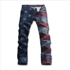 Willstyle Unique American Flag Printed Jeans