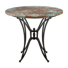 "Copper verdigris 48"" round bar table w/Kenya base at Arhaus.  Good for the patio/deck"