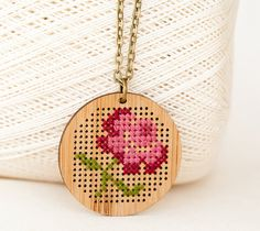 DIY Cross Stitch Necklace Kit - Bamboo with Antique Flower Pattern - Round