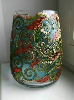 Free course learn the technique of stained glass false step ~ lodijoella Painting Glass Jars, Painted Glass Vases, Glass Painting Designs, Painted Wine Bottles, Painted Wine Glasses, Bottle Painting, Glass Art, Stained Glass Paint, Stained Glass Patterns