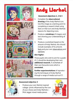 Andy Warhol GCSE Art checklist
