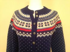 Beautiful Vintage Christmas Cardigan Winter Sweater by TaraMiSioux