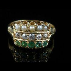 Victorian 18CT Triple Gemstone Ring Dated Birmingham 1882