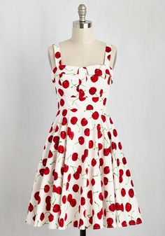 Pull Up a Cherry Dress in White