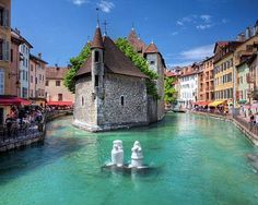 Annecy France is a commune in the Rhone-Alpes region located about 60 miles east of Lyon, making it an excellent side trip to add to your things to do list in Lyon. The old city of Annecy is now a resort destination in the French Alps Vacation Destinations, Dream Vacations, Vacation Spots, Places Around The World, The Places Youll Go, Places To See, Wonderful Places, Beautiful Places, Romantic Places