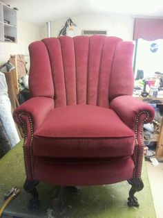 After- Channel Back Chair Re-upholstered
