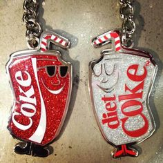 Umm we need this. You're coke (CC) and I'm diet coke (AH) cute best friends coke and diet coke necklaces.