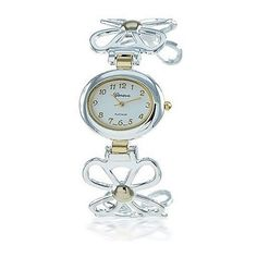 Bling Jewelry Geneva Two Tone Daisy Flower Fashion Cuff Watch ($29) ❤ liked on Polyvore featuring jewelry, watches, silver tone, gold plated watches, 2 tone watches, special occasion jewelry, holiday jewelry and two tone jewelry