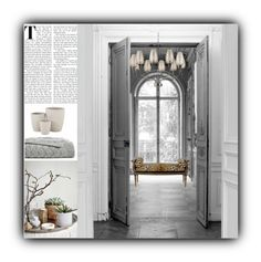 """Untitled #4085"" by kellie-debrandt-mescher on Polyvore featuring interior, interiors, interior design, home, home decor, interior decorating, Maison Margiela, John-Richard, Jayson Home and Hudson Valley Lighting"