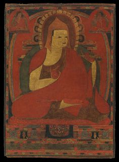 Portrait of the Indian Monk Atisha, early to mid-12th century. Tibet. The Metropolitan Museum of Art, New York. Gift of The Kronos Collections, 1993 (1993.479) | The Indian monk Atisha was ordained at Bodhgaya and the abbot of the vast Vikramashila monastery before traveling to Tibet in 1042. This is the earliest portrait of this great scholar; it was done in Tibet several generations after his death. #Buddhism