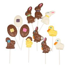 Bunnies x Eggs x Ducks x Lamb x Chick x individually wrapped, assorted milk and white chocolate Easter Chocolate, White Chocolate, Candy Buffet Supplies, Chocolate Lollipops, Candies, Lamb, Bunny, Quotes, Collection