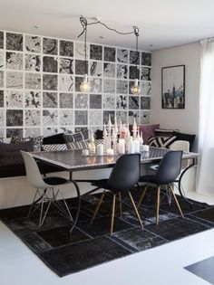 Love this black & white Swedish home with pops of pink in the living room
