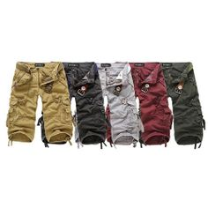 Mens Casual Pants Baggy Shorts Stylish Working Cargo Short Capri Trousers