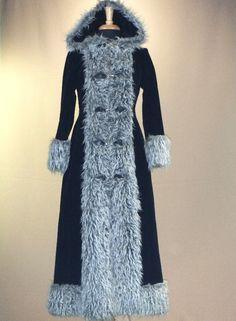 Vintage 1960s 70s SIBERIAN GIRL Full Length Russian Princess Coat Floor Length Velveteen & Silver Gray Mongolian Fur Winter Coat.