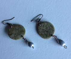 Gold crackle polymer clay earrings with silver leaf teardrops on Etsy, $18.00