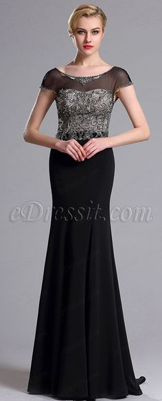 Illusion Neckline Beaded Mermaid Prom Evening Dress