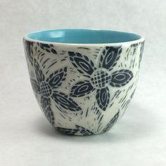 Starflower cup; Cerise de Terre Ceramics; sgraffito Sgraffito, Ceramic Pottery, Tea Pots, Planter Pots, Wax, My Etsy Shop, Carving, Ceramics, Unique Jewelry