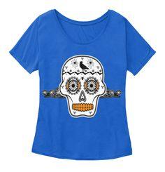 Halloween Sugar Skull Crow Spiders Tees True Royal T-Shirt Front