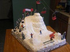 ski slope grooms cake on Cake Central Pretty Cakes, Beautiful Cakes, Amazing Cakes, Christmas Cake Decorations, Christmas Desserts, Christmas Cakes, Cupcakes, Cupcake Cakes, 7 Cake