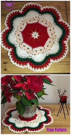 Breathtaking Crochet So You Can Comprehend Patterns Ideas. Stupefying Crochet So You Can Comprehend Patterns Ideas. Crochet Santa, Crochet Gifts, Free Crochet, Crochet Summer, Free Knitting, Christmas Tree Skirts Patterns, Crochet Christmas Decorations, Crochet Puff Flower, Crochet Flowers