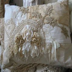 Lovely, lovely patchwork vintage linens and lace pillow! Shabby Chic Pillows, Shabby Chic Decor, Lace Pillows, Chic Bedding, Rustic Decor, Bedding Sets, Shabby Chic Interiors, Shabby Chic Homes, Crazy Quilting