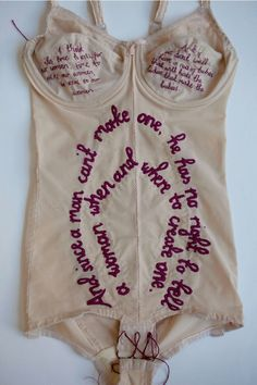 British artist Zoe Buckman has been known to work in various media. her latest project, Every Curve, combines vintage lingerie, hand embroidery, and the iconic lyrics of The Notorious B. Sculpture Textile, Textile Fiber Art, Textile Artists, Feminist Art, Feminist Quotes, Vintage Lingerie, Lacy Lingerie, Boro, Embroidery Art