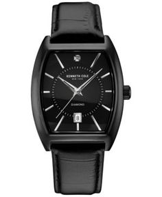 Kenneth Cole Men's Diamond Accent Ion-Plated Black Leather Strap Watch 48x38mm 10030820 - Black