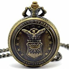 Us Air Force All-Star Bronze Pocket Watch Brass Tone + Matching Chain Pw046 With Gift Box Armel. $21.99