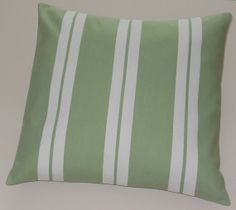 Stylish Throw Pillows Paired Stripes Sage Green x Green Accents, Green Stripes, Sage Green Bedroom, Striped Cushions, Home Interior Design, Decorative Throw Pillows, Home Kitchens, Kitchen Ideas, Bedrooms