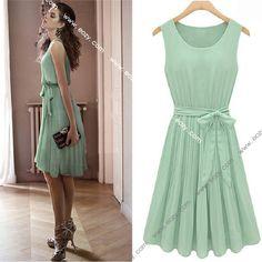 Fashion Lady's Sleeveless Lace Vest Pleated Skirt Chiffon Dress #eozy