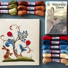 Crewel kit A Rabbit Summer, Crewel Embroidery Kit A Rabbit Summer, Rabbit Crewel Kit, Crewelwork Embroidery Kit A Rabbit Summer. Crewel Embroidery Kits, Learn Embroidery, Embroidery Patterns, Vintage Embroidery, William Morris, The Royal School, Watership Down, Textiles, Seed Stitch