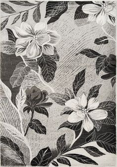 Platinum Antiqued Silver Flowers Area Rug