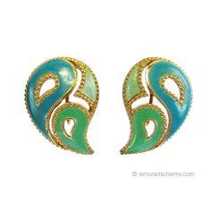 Avon 1990 Kaleidoscope Blue Paisley Earrings