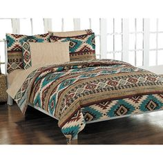 <li>Bedding set features a geometric southwest pattern in colors of turquoise, sand, and brick<li>Comforter reverses to a coordinating stripe pattern<li>Sheet set features an all-over sand pattern with 250 thread count Southwest Bedroom, Southwest Decor, Southwestern Style, Deco Ethnic Chic, Aztec Bedding, Aztec Bedroom, Western Bedding, Western Bedrooms, Mattress Sets