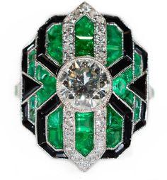 Estate Platinum Diamond Emerald and Onyx Ring Size 7 1.28CT Round Center Art Deco by BellmansOnlineStore on Etsy https://www.etsy.com/listing/225581018/estate-platinum-diamond-emerald-and-onyx