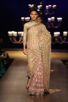 Manish Malhotra has used gold dust and beige hues to create these bridal designs #ICW #ICW2014 #logixgroup #ManishMalhotra #potrait #fdci #beige #hues #bridal #saree #weheartit #indianfashion #couturedolls #coutureweek #designercouture #vogue #detailtherapy