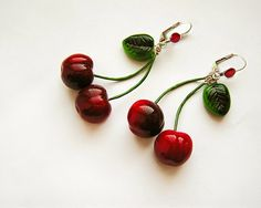 Cherry Earrings Red, cherry jewelry, bright jewelry, handmade, pin-up red jewelry, cherries - pinned by pin4etsy.com