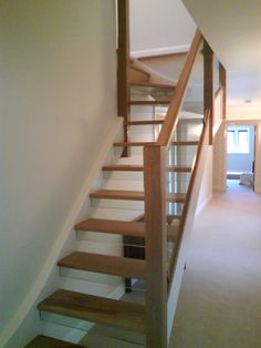 Deal strings, oak steps and glass risers