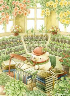 Kawaii Illustration, Watercolor Illustration, Watercolor Art, Kawaii Drawings, Cute Drawings, Kawaii Wallpaper, Kawaii Art, Whimsical Art, Cute Wallpapers