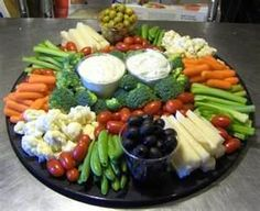 veggie tray & dips -- arranged beautifully                                                                                                                                                      More