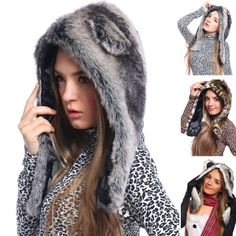 Furry Faux Fur Animal Ear Hoodie HAT animal HOOD w/ paws wolf/leopard/husky Fashoutlet