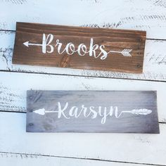 Rustic Nursery Arrow Name hand painted reclaimed pallet wood sign boy girl room boho decor personalized by WehuntWoodDecor on Etsy https://www.etsy.com/listing/385329098/rustic-nursery-arrow-name-hand-painted